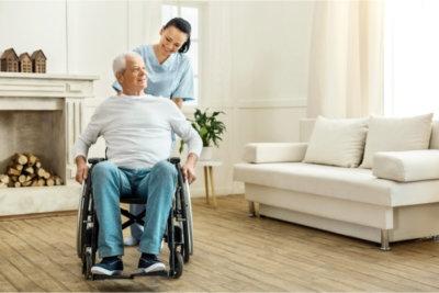 caregiver and senior talking